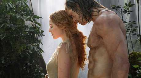 Margot Robbie and Alexander Skarsgard in a scene from the movie The Legend of Tarzan.