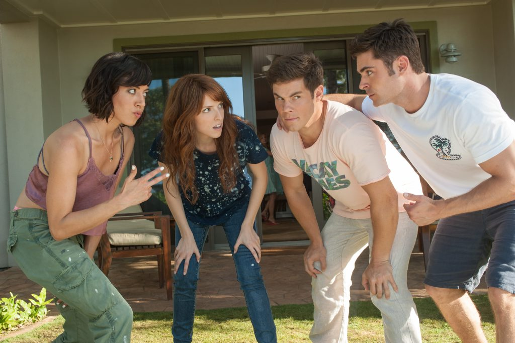 Aubrey Plaza, Anna Kendrick, Adam Devine and Zac Efron in a scene from the movie Mike and Dave Need Wedding Dates.