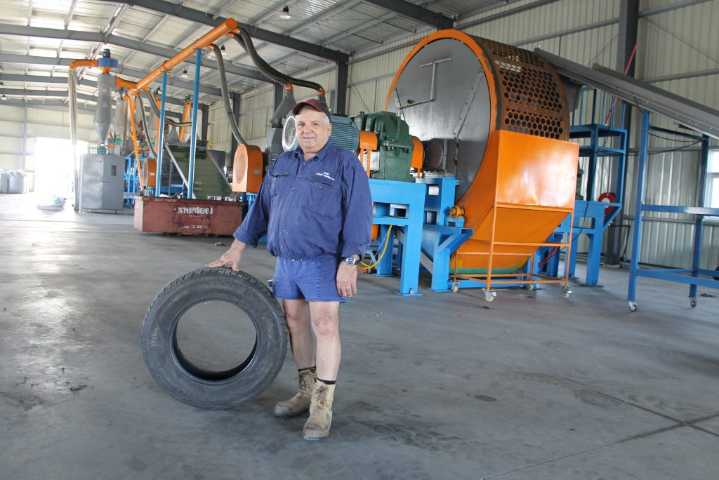 ON A ROLL: John Galea, owner of Johnny Farming Company and JMJ Tyre Recycling at the Paget plant.