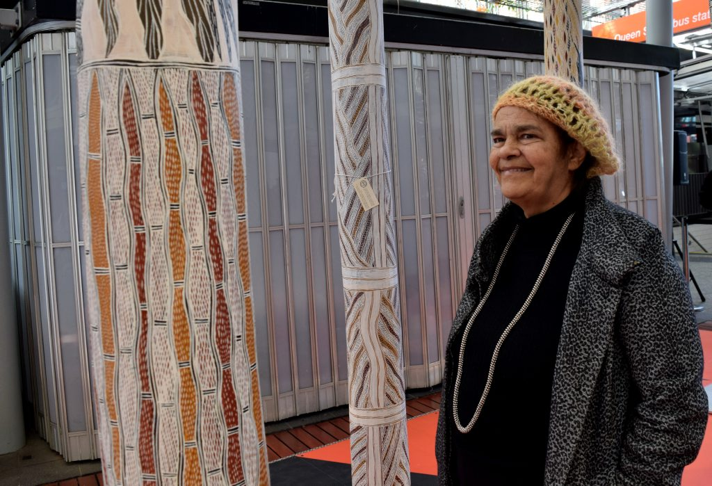 Eumundi artist Jennifer Herd has been named as a finalist in a national art award and admires one of the past winning artworks that was temporarily installed in Brisbane.Photo Pamela Frost