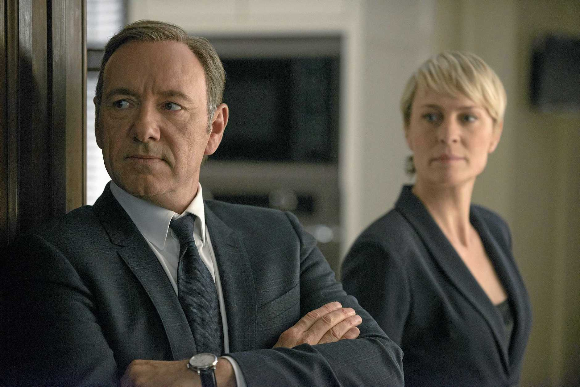 Kevin Spacey and Robin Wright in a scene from the TV series House of Cards (s2). Supplied by Foxtel publicity. Please credit photo to Nathaniel Bell.