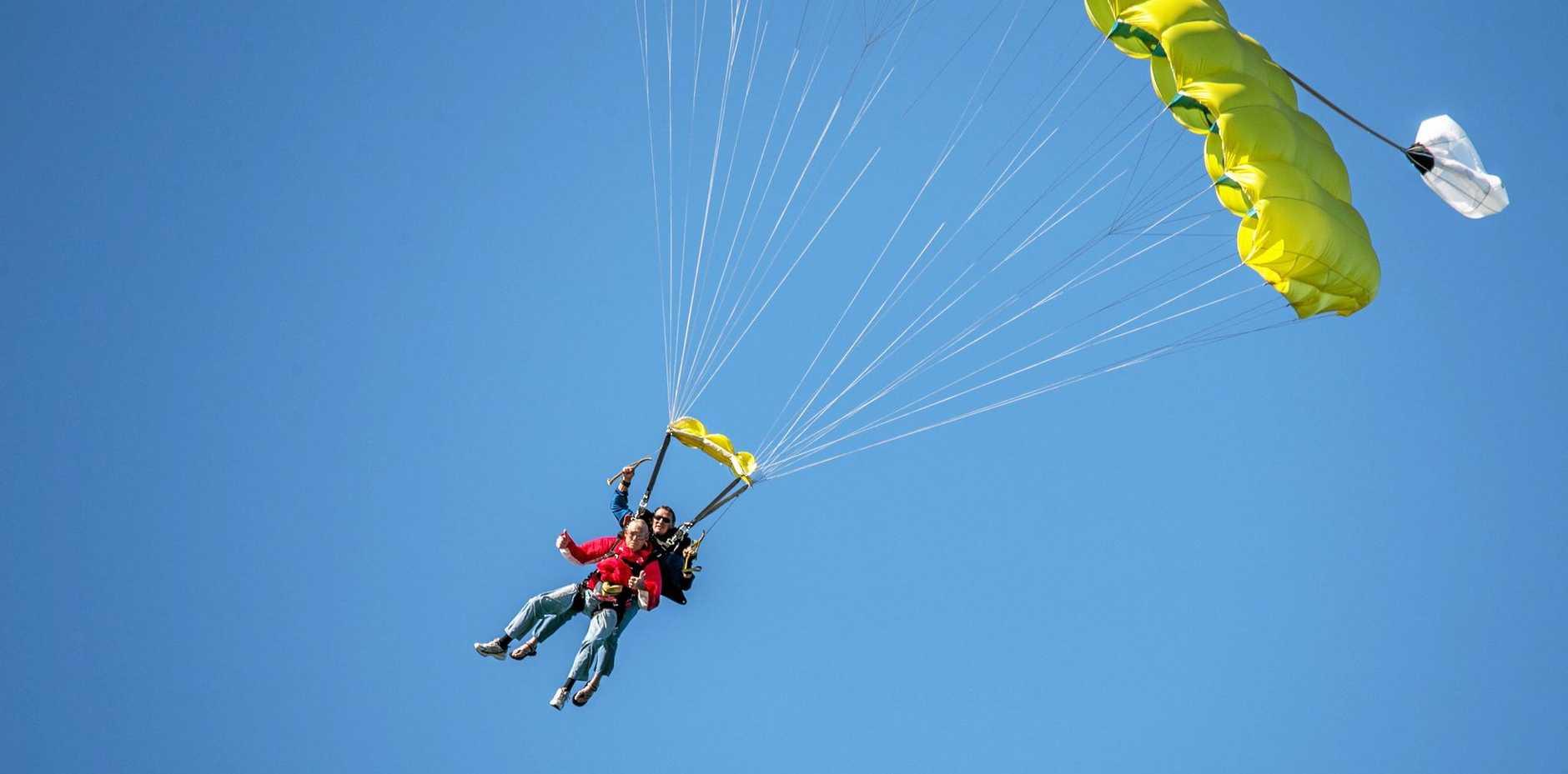 BIRTHDAY BILL: 90 year old William 'Bill' Wilson went skydiving to celebrate his birthday.