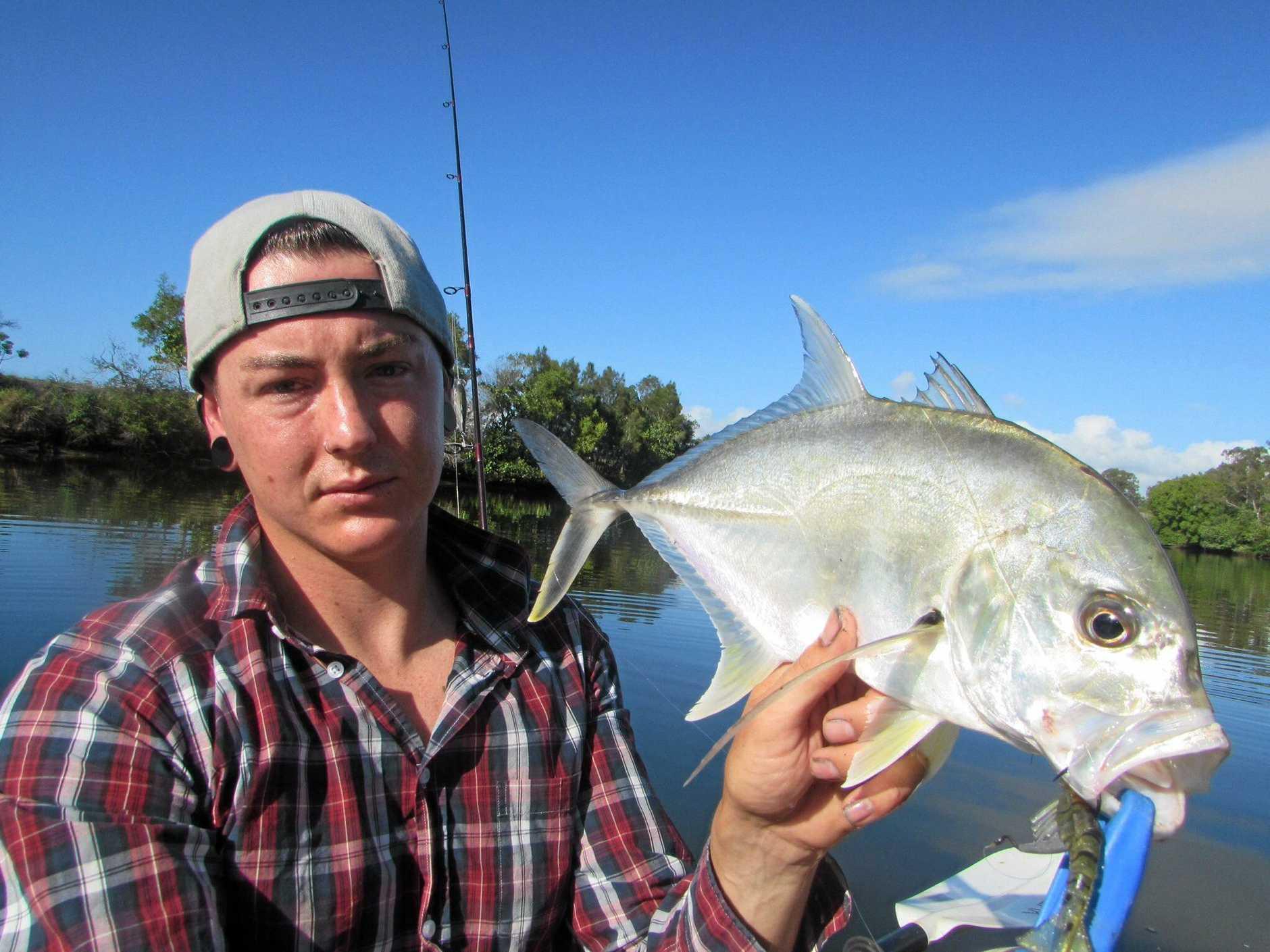 "Aaron Reyne with a Noosa River grunter bream caught on a 3"" Samaki Boom Bait."