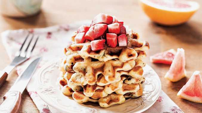 Strawberry waffles make a delicious breakfast.