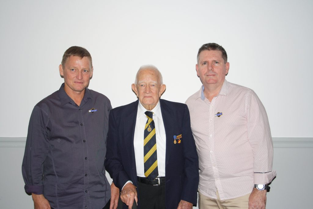 New life members Darryn Watson and Darrin Madden with club patron Col Hamilton (centre).