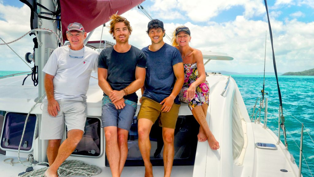 COOKING UP A STORM: Charlie Preen, Surfing the Menu hosts Hayden Quinn and Dan Churchill and Sandy Hapgood on a bareboat during filming for ABC's Surfing The Menu: Next Generation Whitsundays episode. Photo contributed.