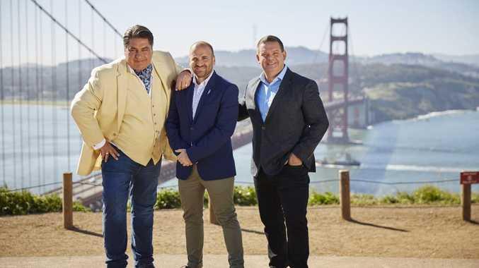 MasterChef hosts Matt Preston, George Calombaris and Gary Mehigan pictured in San Francisco.