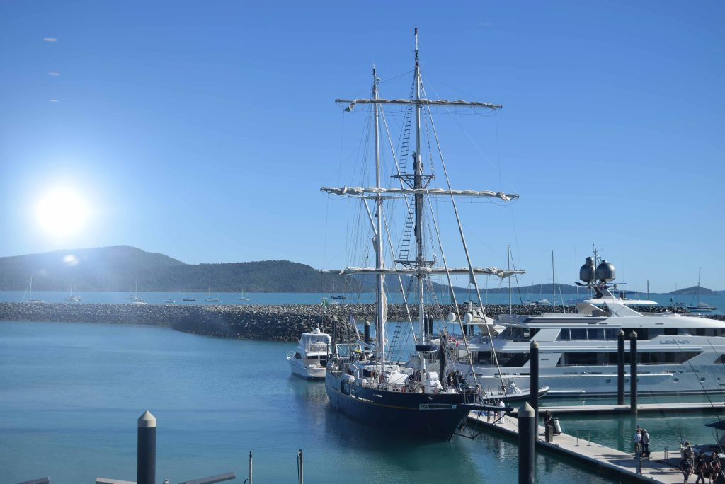 ALL ABOARD: The STS Young Endeavour arrived with it's crew of 24 youths and nine permanent crew at Abell Point Marina this morning. Photo Inge Hansen / Whitsunday Times.