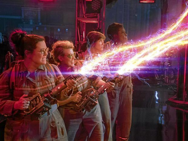 Melissa McCarthy, Kate McKinnon, Kristen Wiig and Leslie Jones in a scene from Ghostbusters.