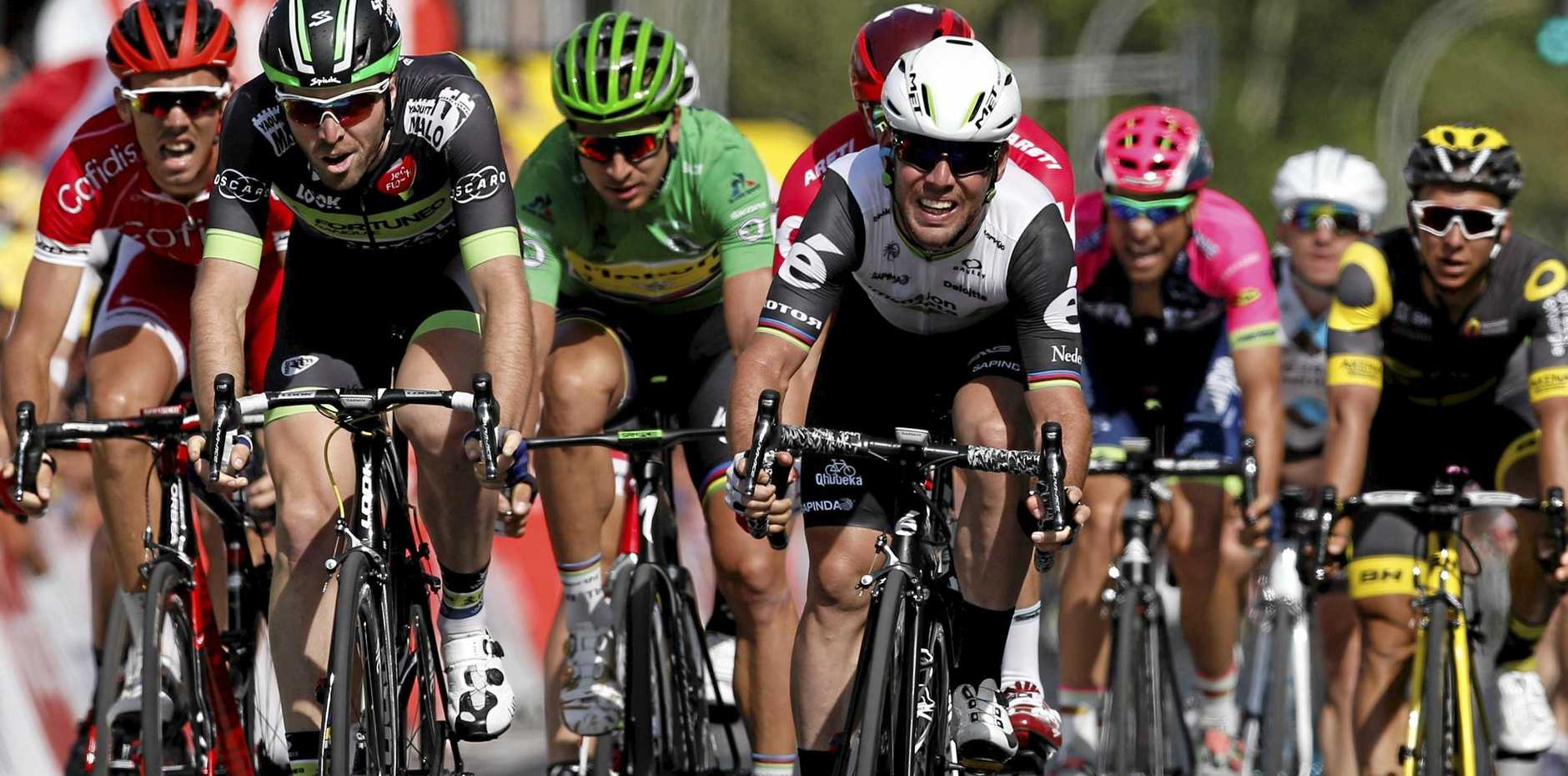 TOO QUICK: Team Dimension Data rider Mark Cavendish of Great Britain (white helmet) sprints to win the sixth stage of the 103rd edition of the Tour de France over 190.5km between Arpajon-sur-Cere and Montauban.