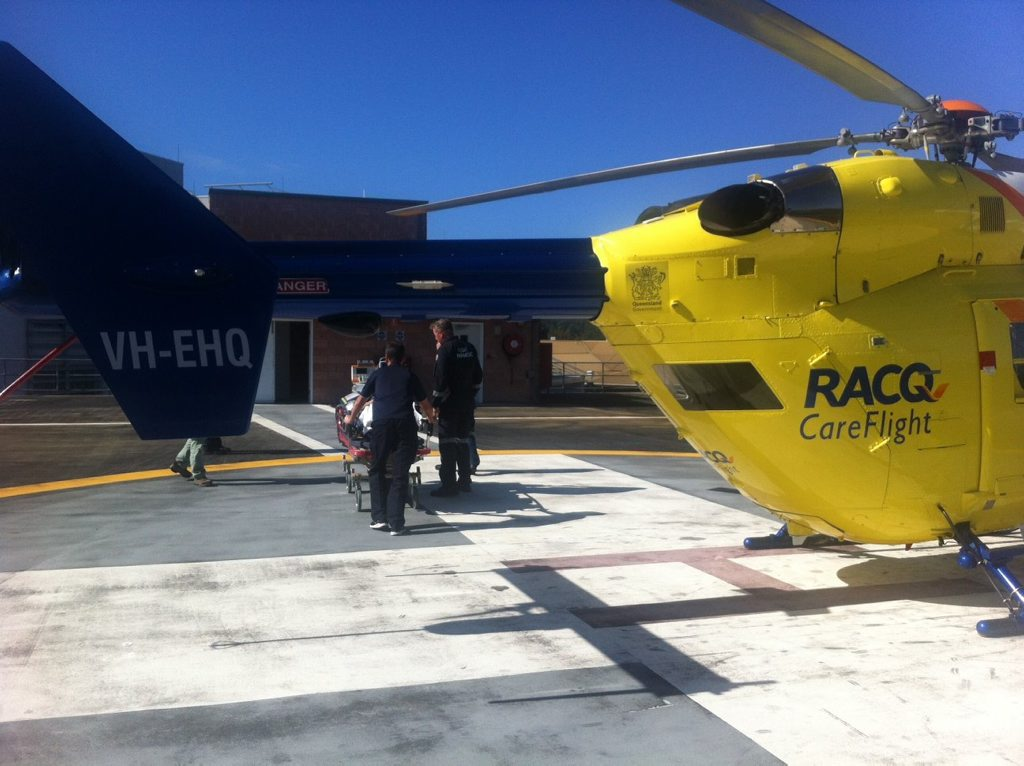 Girls suffers head injuries after horse fall. Sunshine Coast RACQ CareFlight Rescue, July 10, 2016