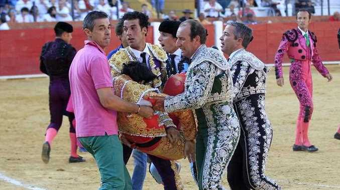 Spanish bullfighter Victor Barrio, 29, is carried out from the bullring after being gored during a bullfight held on the occasion of Feria del Angel in Teruel, Aragon (Spain), 09 July 2016. Barrio died due to the injures after being seriously gored by his third bull.