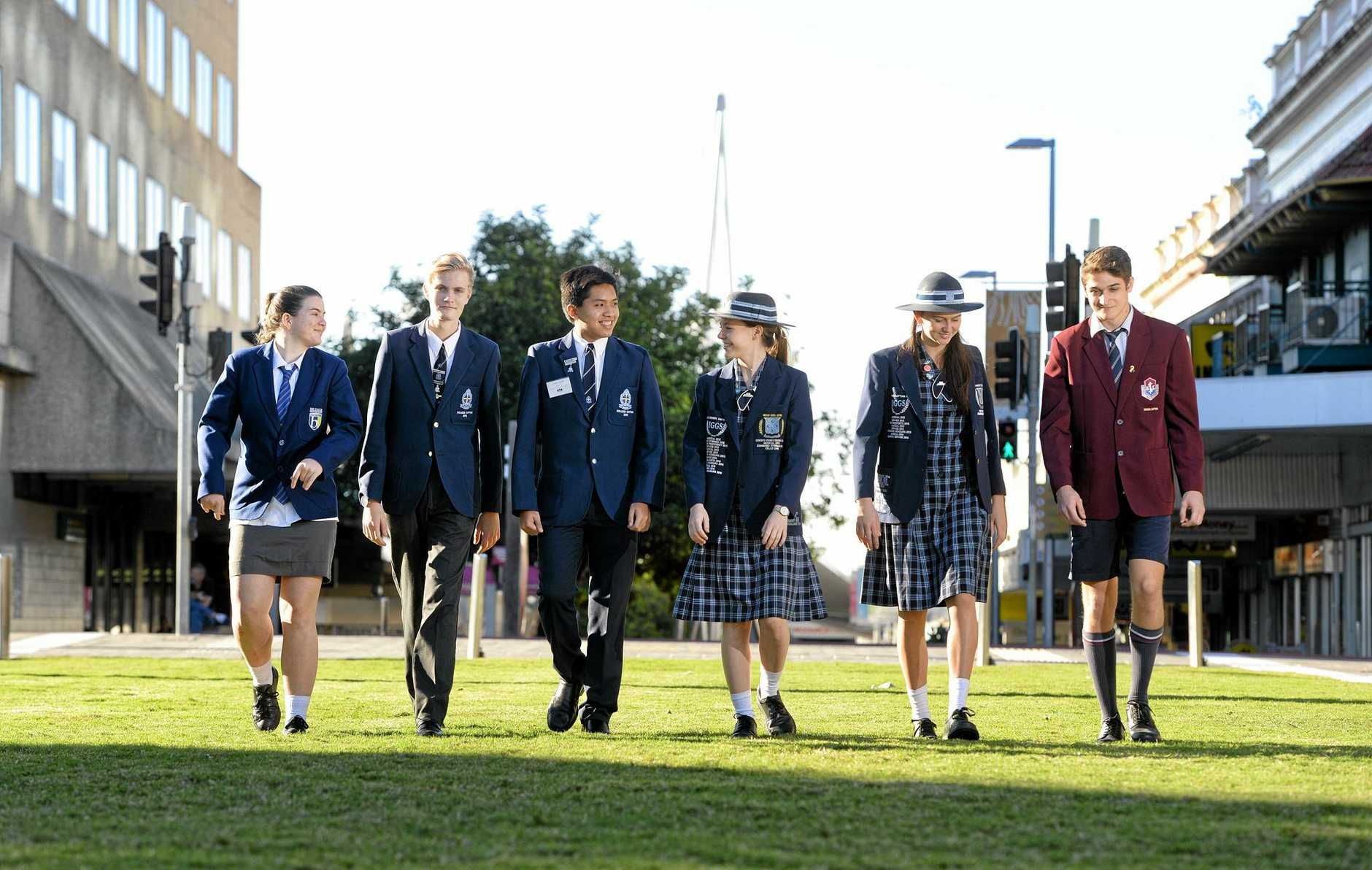 School captains from various Ipswich schools have joined forces to form a school leaders network. Samoi Kinsella, d'Arcy Witherspoon, Gideon Caturia, Lillian Horneman - Wren, Rosie Harris and Ben Fisher.