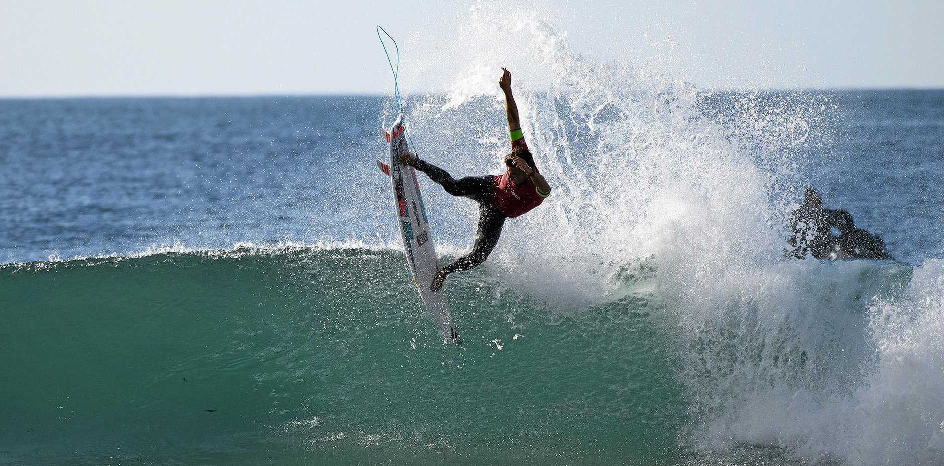 SENSATIONAL: Julian Wilson winning his round three heat at the J-Bay Open.