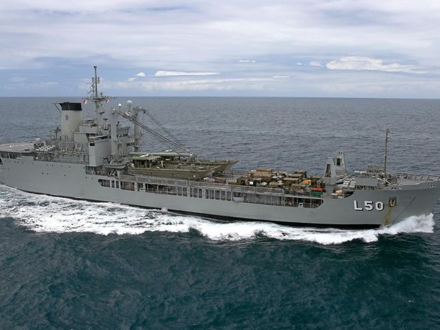 TOURISM POTENTIAL: The cargo ship HMAS Tobruk may be scuttled in the Great Sandy Strait in a few years.