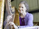 At the Maryborough Woodturners and Woodcraftsmen Guild Open Day on Saturday, Nerida Voss plays the harp that she and her late husband Robert Voss made some years ago.