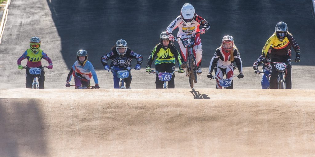 Saya Sakakibara opens a big lead to the first jump in the 17+ open womens' division at NSW BMX titles at South Grafton
