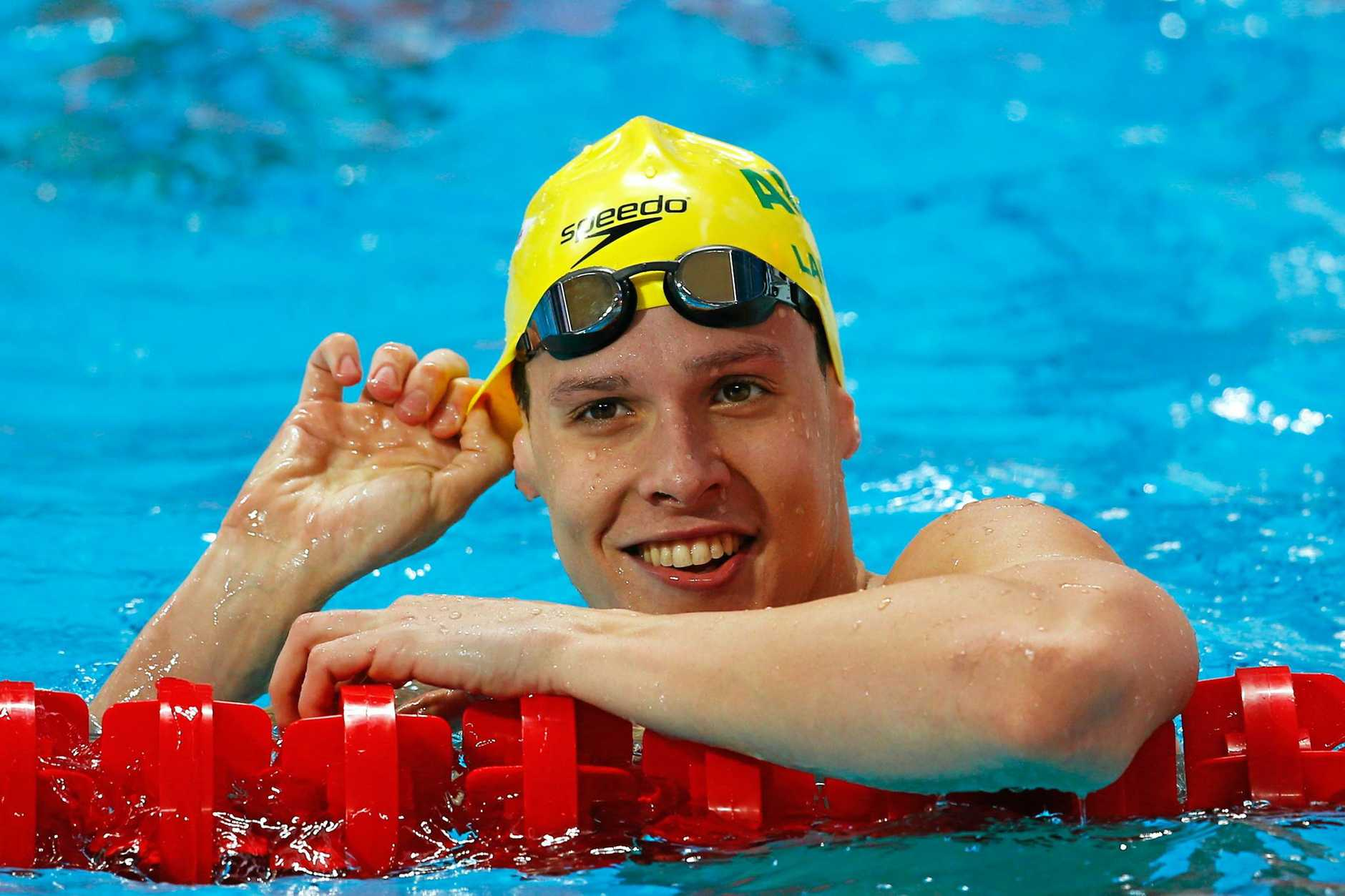 OLYMPIC HOPE: Mitch Larkin of Australia smiles after his men's 50m backstroke heat at last year's world championships in Kazan.