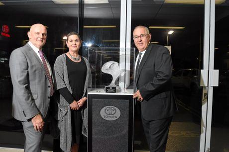 Toyota Motor Corporation Australia President Dave Buttner with Lockyer Valley Mayor Tanya Milligan congratulate Lockyer Valley Toyota Dealer Principal Ian O'Brien on winning the President's Award for Excellence.