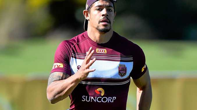 READY TO GO: Maroons winger Dane Gagai is put through a fitness test during a Queensland  training session at Sanctuary Cove.