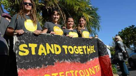 RECONCILIATION: Jack Blandford, Tallara Grey, Angel Owen and Frea Blandford take part in the Bundaberg District NAIDOC Week Reconciliation Walk. Photo: Eliza Goetze / NewsMail