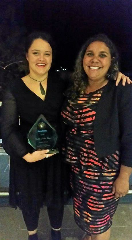 YOUTH OF THE YEAR: Angel Owen (left) with her award at the Bundaberg District NAIDOC Ball.
