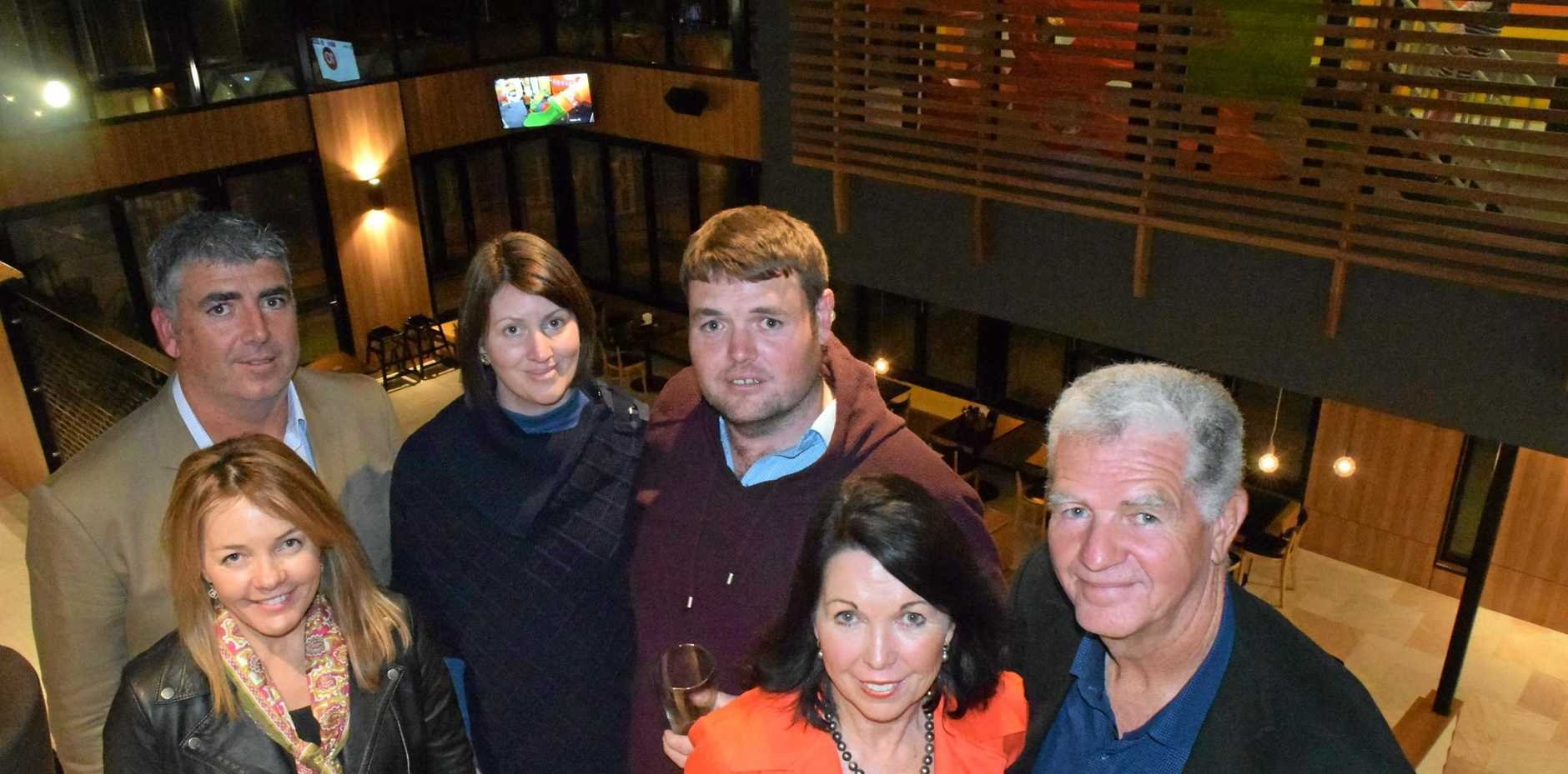 NEW PUB: The Garvie family (Justin, Wendy, Diana, Nathan, Lyn and Bruce) celebrate the soft opening of the Royal on 99 on Friday night to thank the contractors and workers who helped build it.