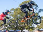 Noah Elton leaps high over the first jump in the 10 Boys division at NSW BMX titles at South Grafton