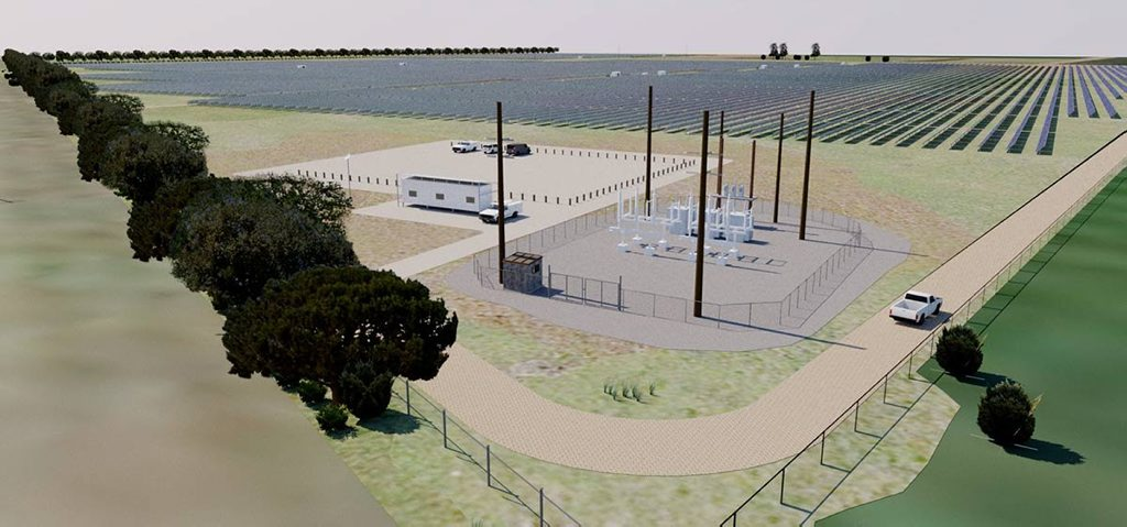 An artist's impression of the solar farm Canadian Solar plans to build near Oakey. Photo Contributed