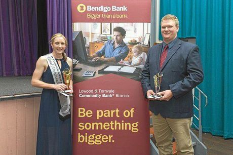 Rural ambassador runner-up Megan Vetter from Toogoolawah, with winner Tobias Worley from Boonah.