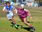 Taroom/Wandoan Battlers' Luke Baker chases down a Wallumbilla Red Bulls player at the Miles Devils' family day on Saturday.
