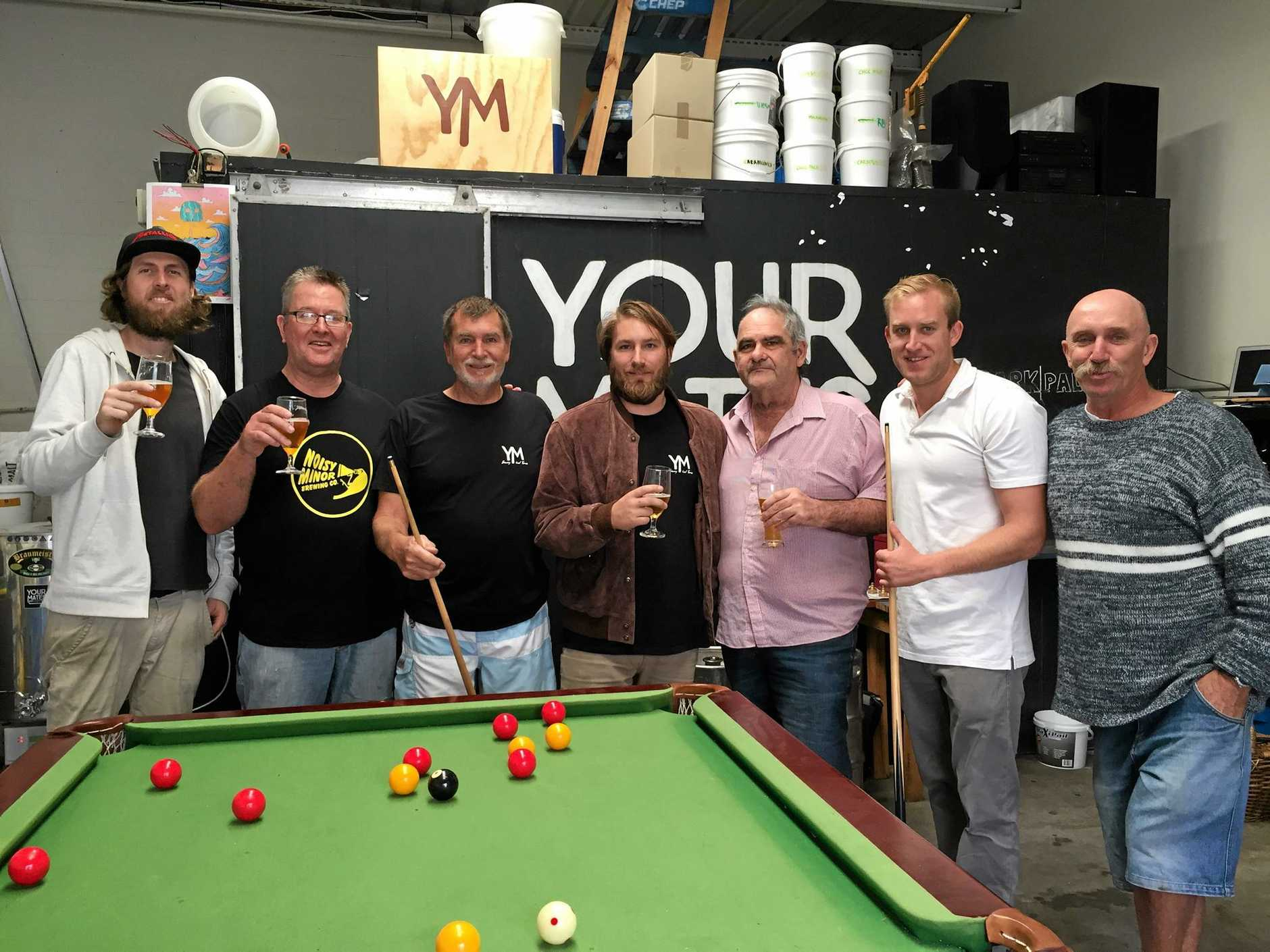 WITH MATES: Nick 'The Pontiff' Gulotta (third from right) with fellow craft beer enthusiasts Your Mates head brewer and co-founder Christen McGarry (far left) Steven Laing, Gary Hepburn, Your Mates co-founder Matt Hepburn, Dean Hepburn and John O'connor (far right).