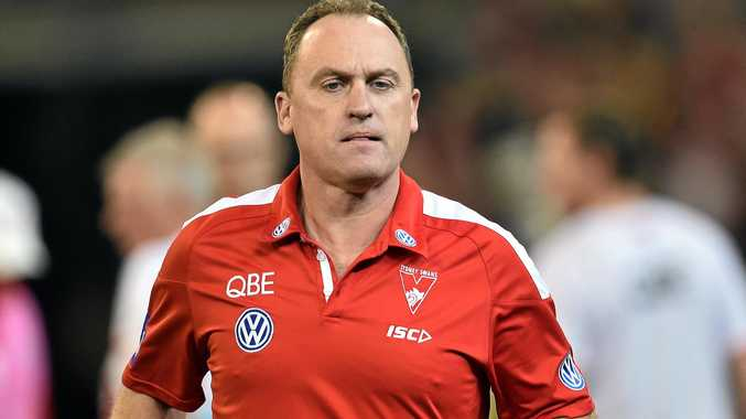 CONTRACT EXTENDED: Swans coach John Longmire makes his way from the field.