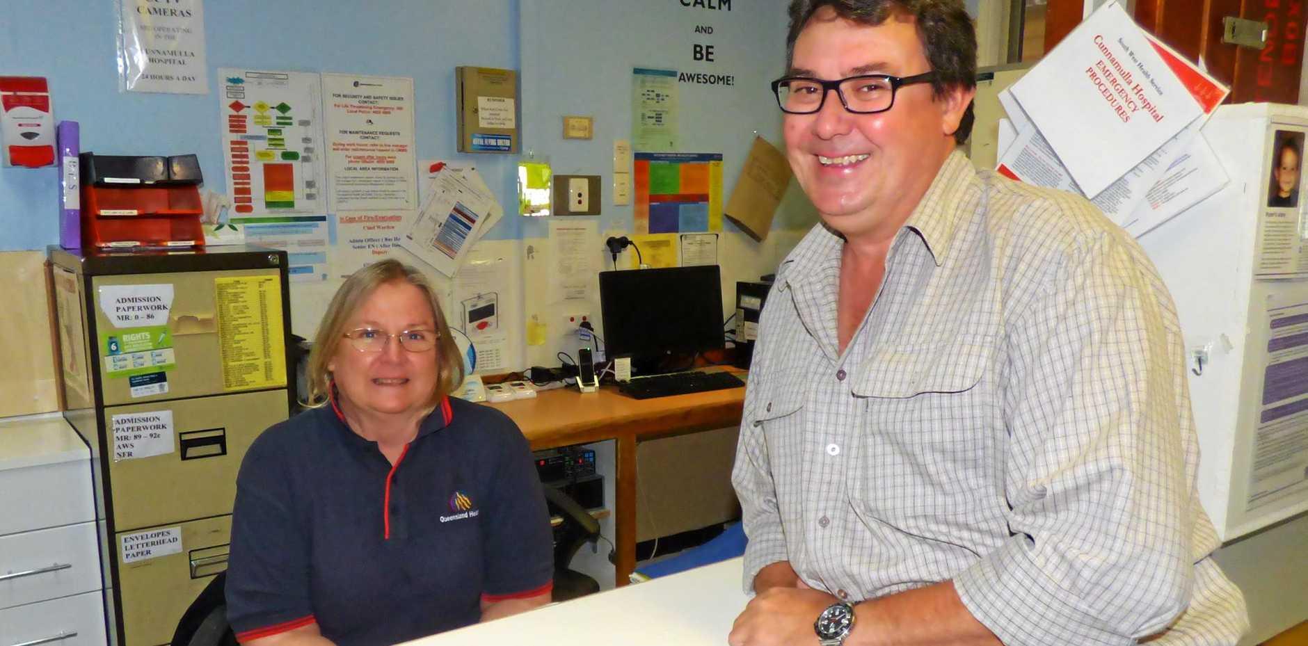 MEDIC: community Nurse Judith Henning with nurse Craig Egan both work at Cunnamulla hospital.