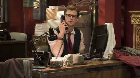 Chris Hemsworth in a scene from the movie Ghostbusters.