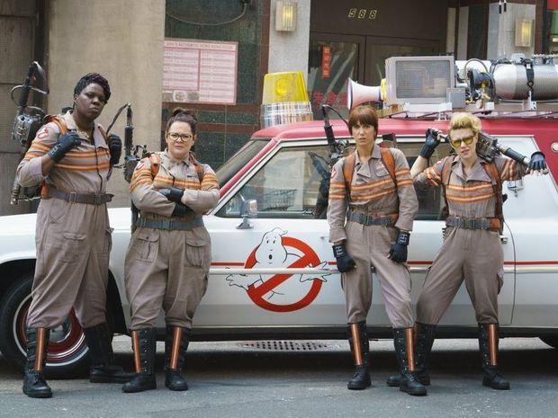 Leslie Jones, Melissa McCarthy, Kristen Wiig and Kate McKinnon in a scene from the movie Ghostbusters.