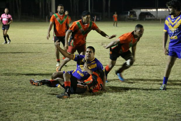 Peter Bligh is tackled at the Eidsvold v Murgon game.