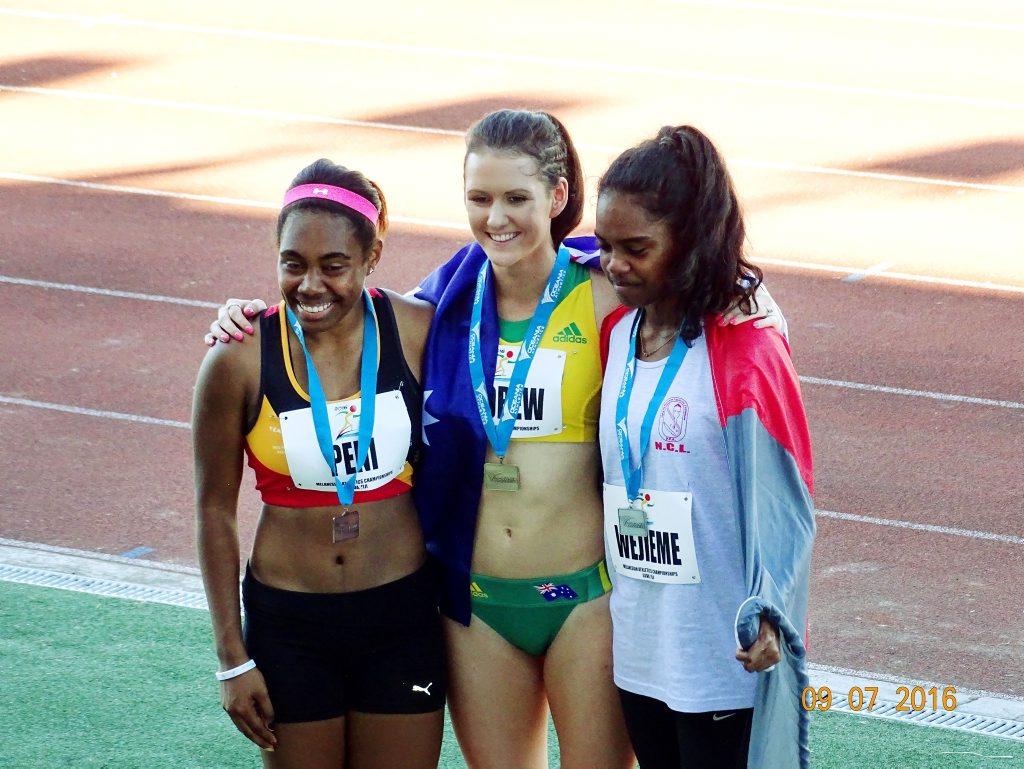 Ipswich-based athlete Miriam Peni (left) celebrates her bronze medal-winning performance at the Melanesian Games in Suva.