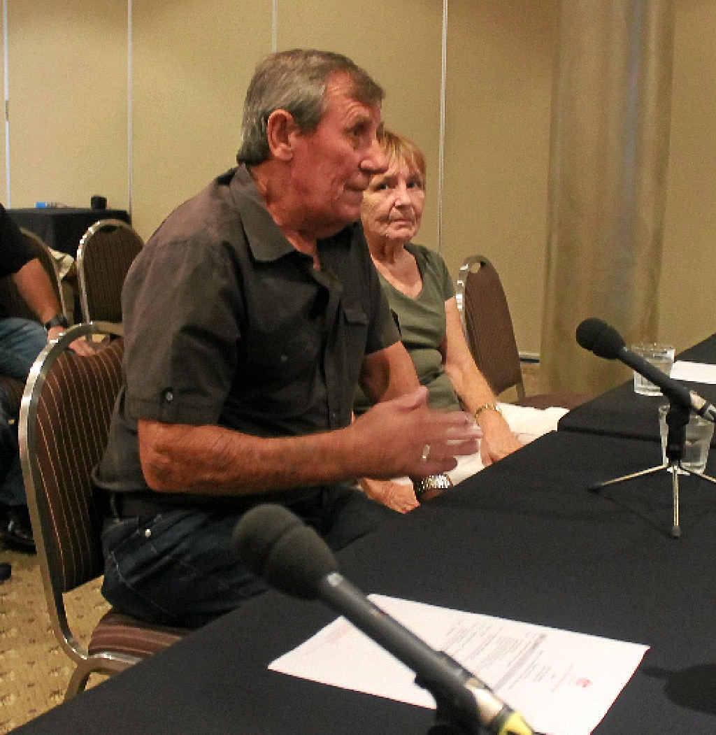STILL SUFFERING: Black lung victim Keith Stoddart and wife Danielle give evidence at the Senate inquiry hearing into black lung disease, or coal workers' pneumoconiosis, in Mackay.