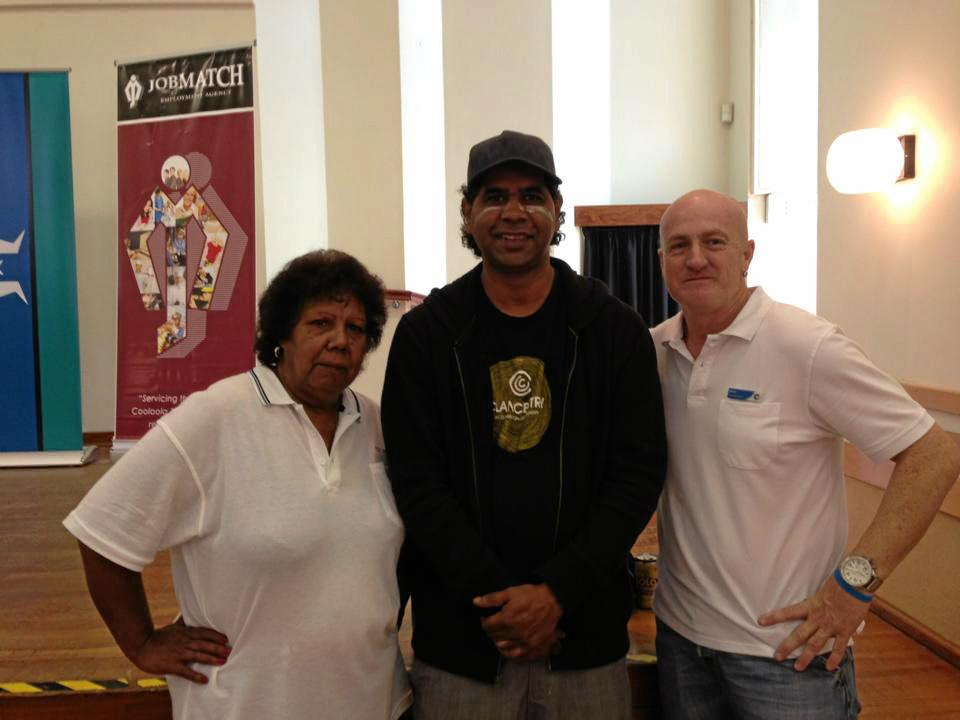 Co-chairs of Gympie's NAIDOC Family Fun Day Aunty Lillian Burke and Sean Connelly (right) with Lyndon Davis of the Gubbi Gubbi Dancers who will be performing at the event on Friday.