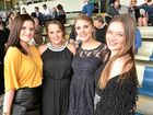 Koda Scott of Grafton with Nat Beard, Jessica Farley and Beth Howlett of Sydney at the Rarmornie races.