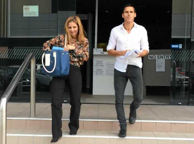 Department of Communities staff members Melissa Thomsen and Michael Packman leave Maroochydore Court House after giving evidence at a coroner's inquest into the death of Leah Floyd.