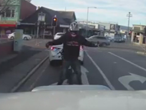 VIDEO: Dash cam captures bike-rider boogie