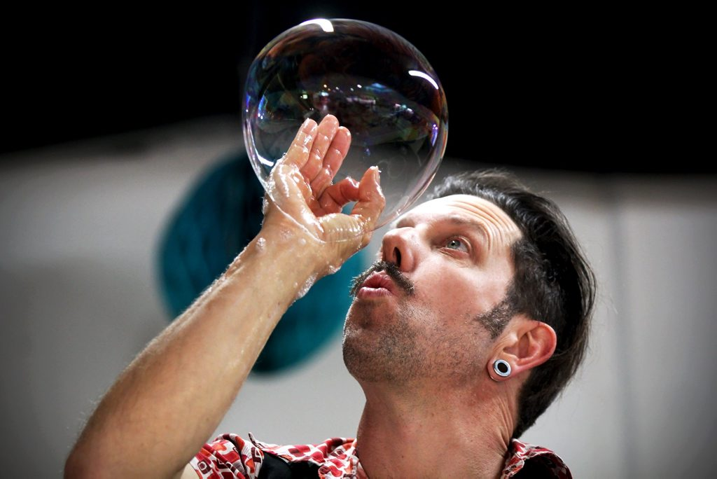 Suffolk Park man, Shep Huntly, will be performing his new bubble show at Circus Arts Byron Bay in January. Photo contributed