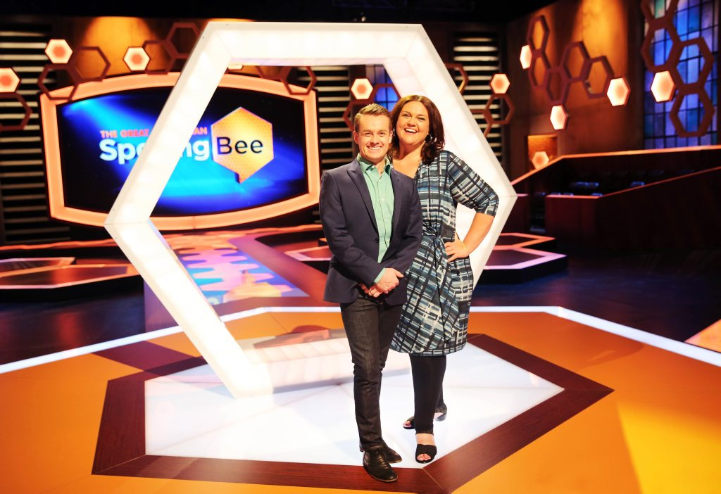 Hosts of The Great Australian Spelling Bee Grant Denyer and Chrissie Swan. Contributed Channel Ten.