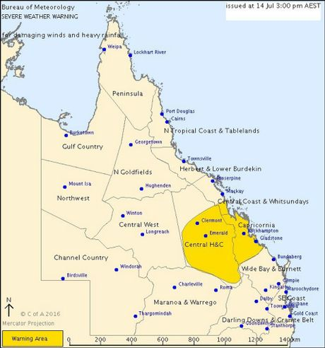 A weather warning for 90km/h winds and heavy rainfall has been issued for the Capricorn region, including Gladstone.