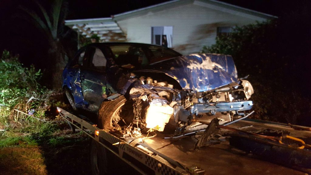 The driver of this car was transported to Ipswich Hospital after it crashed into a home at Blackstone