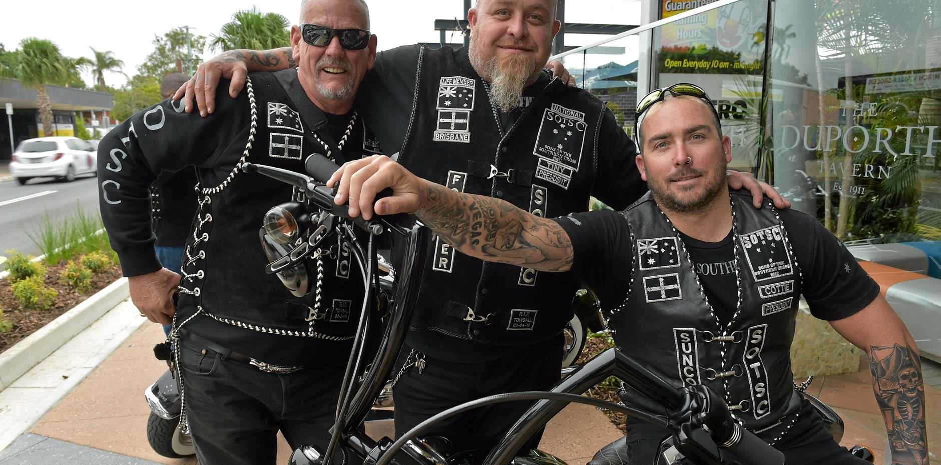 SUPPORT: Sons of the Southern Cross Motorcycle Club members prepare for Lyla's charity ride. Steve Papa Bear, Tiny and Cottie at the Duporth Tavern, the final stop of Sunday's ride.