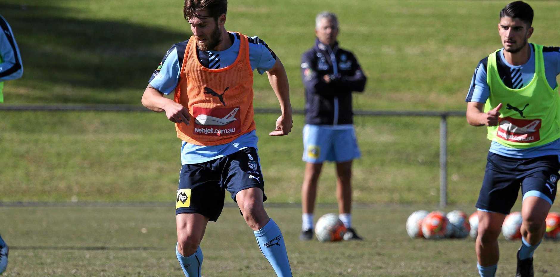Bundaberg's Josh Brillante in action in Sydney FC training.