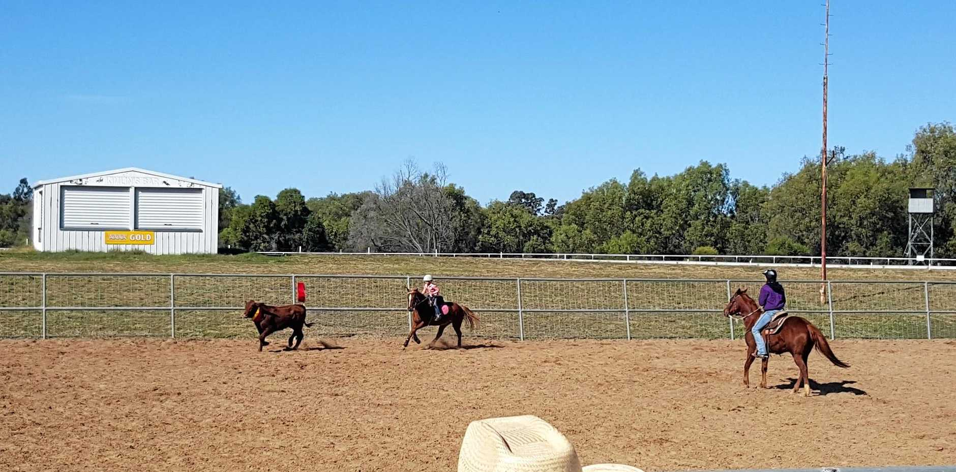 IN ACTION: Riders take part in Maranoa Team Penning's Rally Day on Sunday.